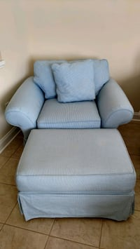 Blue chair and ottoman.