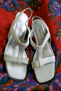 pair of white leather open toe ankle strap heels Baltimore, 21225