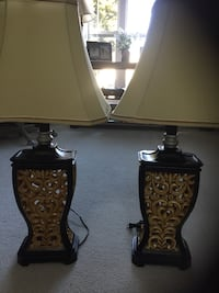 Brown wooden base with white lampshade table lamp Sykesville, 21784