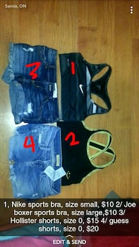 two black and green sports brassieres and two blue denim shorts Sarnia, N7T 2T9