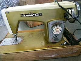 brown and black kingston sewing machine