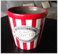 red and white Popcorn ceramic pot Montréal, H2L