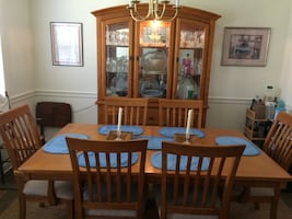 Brown wooden dining table set