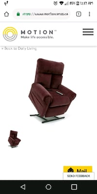 Burgandy lift recliner with remote LaSalle