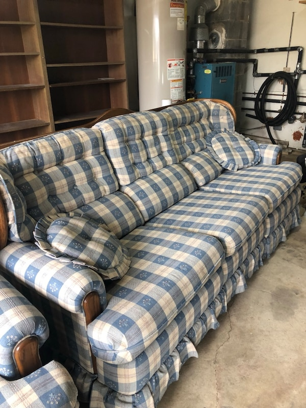 Awesome Used Brown And Blue Plaid Fabric Sofa For Sale In Toms River Gamerscity Chair Design For Home Gamerscityorg
