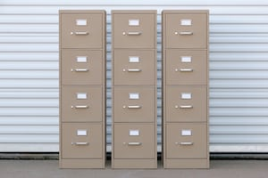3 Hon Putty Letter File Cabinets w/ 4 Drawers