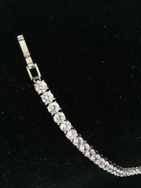 silver-colored bracelet with clear gemstones Montréal, H4R 2M1