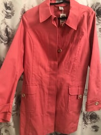 Pink button-up coat, great for the fall