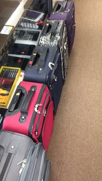 6-piece red, gray, and purple softside luggages