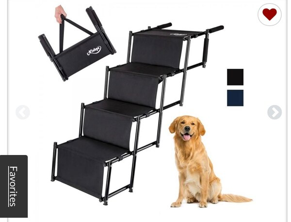 NIUBYA FOLDING CAR DOG STEPS STAIRS LIGHTWEIGHT ACCORDION PORTABLE RUSTPROOF METAL FRAME 4 PET STEPS LADDER WITH DURABLE WATERPROOF BALLISTIC NYLON GREAT FOR CAR TRUCK SUV AND HIGH BED