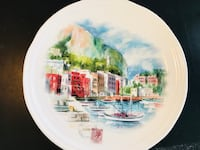 Large Watercolor Serving Plate Alexandria, 22304