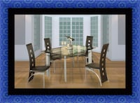 Glass dining table 4 chairs Bowie