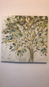 White, green, and blue tree painting New York, 10024
