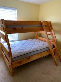 bunk beds, dresser, nightstand (mattresses not included) solid pine furniture