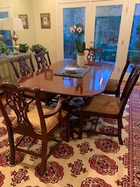 Bakers furniture dining table,6 chairs and karastan antique  8x12 rug