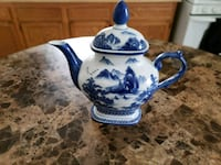 white and blue ceramic teapot Landover Hills, 20784