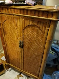 Cabinet wood & rattan $100 OBO Chicago, 60660
