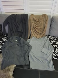 four women's assorted color long-sleeved shirts