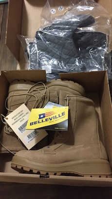 pair of brown Belleville boots in box