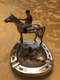 """Horse & Jockey Ash Tray """"Made in Occupied Japan"""" Baltimore, 21217"""