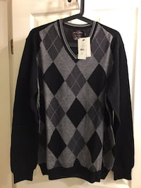 Brand NEW BLACK BROWN 1826 100% MERINO WOOL MADE IN ITALY SWEATER L/G