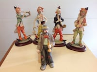 Five collectible clowns