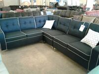 Black fabric sectional sofa with throw pillows Phoenix, 85018