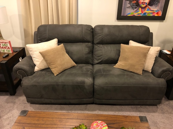 2 Gray Suede Reclining Sofas