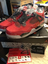 red-and-black Air Jordan 4 shoes