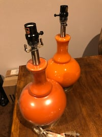 Set of Blown Glass Gourd Style Lamps