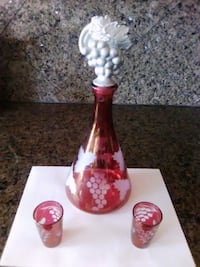 Ruby Etched Glass with Grape Design! Sun City, AZ 85373, USA