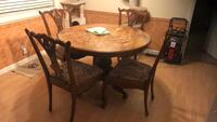 round brown wooden table with four chairs dining set Lodi, 95240
