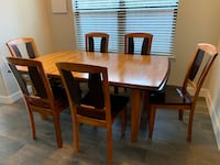 Rectangular brown wooden table with six chairs dining set Houston, 77008