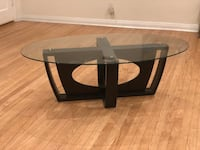 Glass coffee table with espresso wooden base Los Angeles, 91607