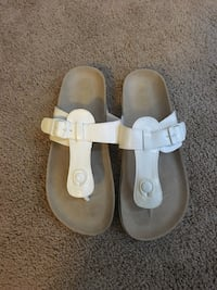 Size 4, white pleather Children's Place sandals never worn
