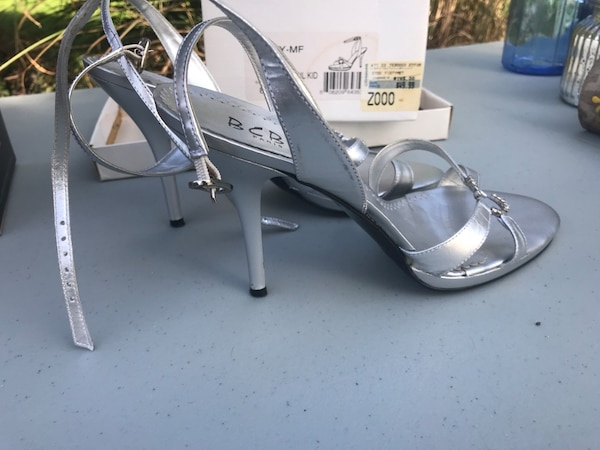 f5277de0c6d Used Silver BCBG open-toe ankle-strap heeled sandals for sale in ...