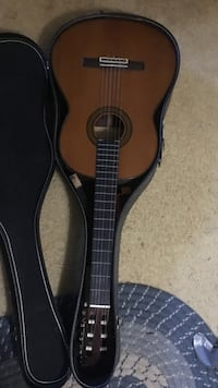 brown classical guitar with case Burke, 22015