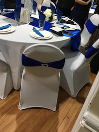 White cover chair and blue sashes rental Mississauga, L5J 3A8