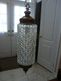 brass framed glass cut lantern lamp