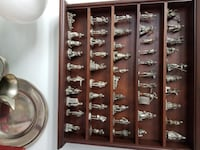 """Franklin Mint - 50 Pewter figures - """"Saturday Evening Post"""" - Wood display case. LIVONIA"""