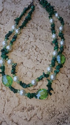 white-and-green beaded 2-strand necklace