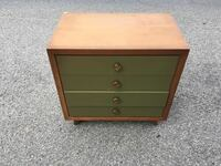 Green MCM Mid Century Modern End Table Night Table Stand and Brown