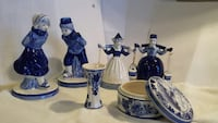"Delft blue figures, tallest 6"" and shortest 5"", box 3"".25D. No chips or cracks, not photoed is a 6"" windmill."