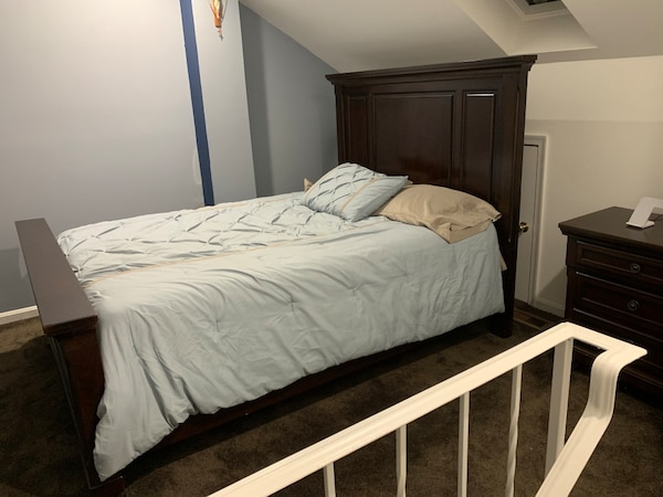 All wood Bed frame (no mattress) and small night table. Furniture 7b428870-a729-4f2e-a013-8f862c453beb