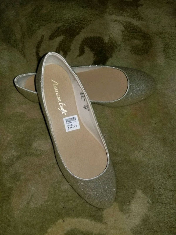 Gold glitter slip on flat shoes 0