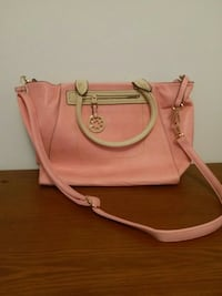 pink and white leather 2-way tote bag