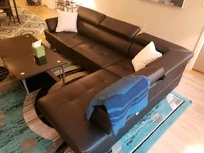 Contemporary faux leather sectional