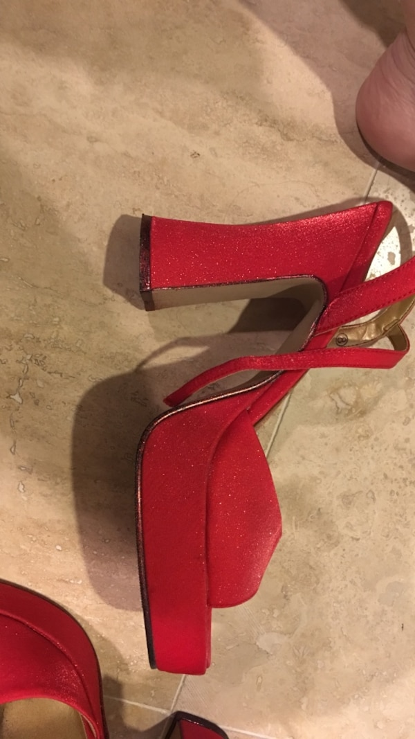 039ffbff5 Used Pair of red open toe ankle strap platform chunky heeled sandals for  sale in Laguna Hills - letgo