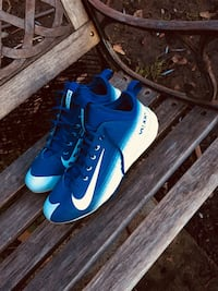 Pair of blue-and-white nike high-top basketball shoes Springfield, 97478