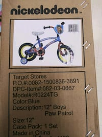 "Kids bike 12"" boys Nickelodeon Paw Patrol NEW! Gaithersburg, 20886"